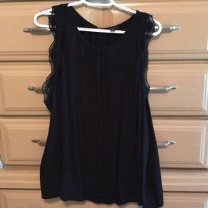 Tank with lace armhole detail